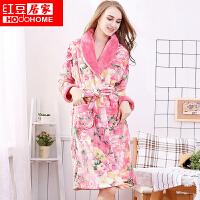 红豆居家睡衣 女士法兰绒睡衣 女式聚酯纤维印花珊瑚绒女士睡袍