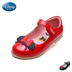 迪士尼童鞋2017年夏季新款米妮头儿童皮鞋时装鞋学生鞋单鞋