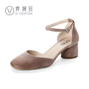 青婉田2017新款春季一字扣浅口单鞋女复古方头真皮中跟粗跟女鞋子