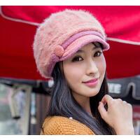 秋冬季贝雷帽 帽子女士韩版潮兔毛帽 保暖鸭舌帽可爱时尚双层