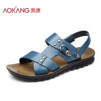奥康男鞋正品 夏季凉鞋男日常休闲沙滩鞋 真皮皮凉鞋透气男士凉鞋