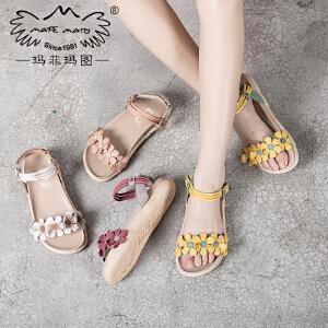 玛菲玛图 女夏凉鞋子2017新款潮百搭学生平底舒适中跟魔术贴手工花朵罗马鞋817-33