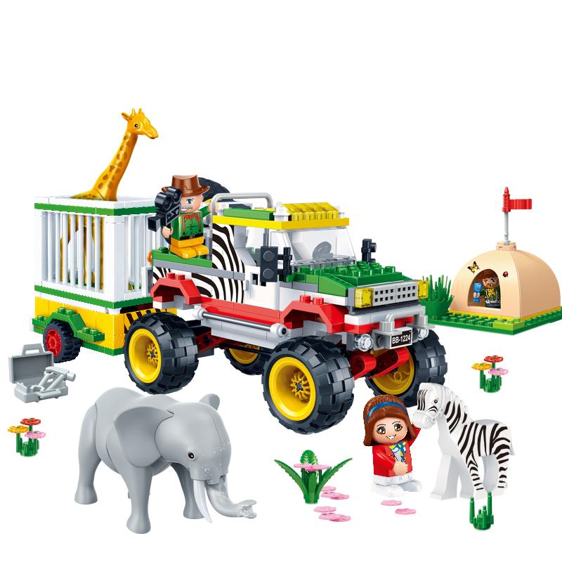 邦宝 拼插积木 儿童益智教玩具 小颗粒 国家动物园系列 动物救援6653