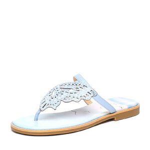 BASTO/百思图夏季专柜同款羊皮简约时尚平跟女鞋TG303BT6