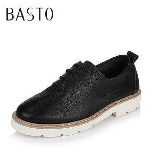 BASTO/百思图2017春季牛皮系带方跟女皮鞋休闲鞋17106AM7