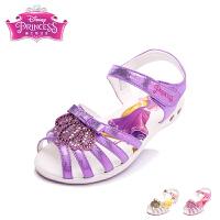 迪士尼童鞋2017年夏季新款女童凉鞋公主鞋儿童学生水钻皮凉鞋灯鞋