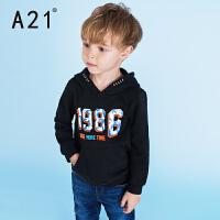 A21童装套头卫衣2016冬新款 时尚舒适连帽上衣男童印花长袖衫