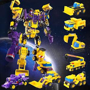 启蒙 乐高式拼装积木 创世者战神七合一 变形金刚机器人汽车模型 塑料益智拼插男孩智力玩具礼物