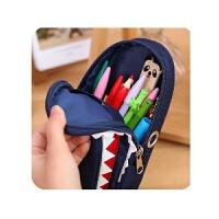 【】个性创意大鲨鱼笔袋 大容量帆布文具袋 密码锁铅笔袋