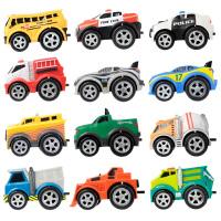 星月 城市回力车后驱车队 软胶车壳惯性小汽车后拉滑行儿童益智玩具