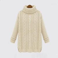 秋冬装新款高领宽松毛衣加厚麻花毛衣中长款针织打底衫欧洲站外套头女