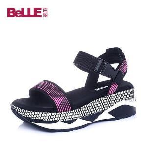Belle/百丽夏专柜同款粉黑织物运动女凉鞋BKF31BL6
