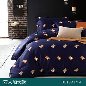 贝赛亚 高端60支贡缎长绒棉床品 双人加大印花床上用品四件套 维尼