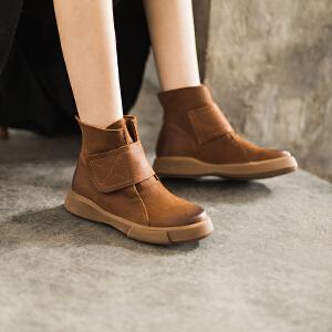 玛菲玛图欧美复古大码女靴休闲马丁靴魔术贴短靴英伦风圆头平底短筒靴大码女靴 009-29S秋季新品