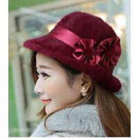 女户外保暖帽时尚韩版秋冬季新款兔毛帽子花朵防寒女士礼帽