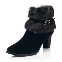 Bata/拔佳专柜同款羊皮优雅高跟女靴AL844DD5