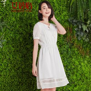 艾蓓怡 夏装2017新款女装镂空拼接短袖蕾丝雪纺连衣裙修身显瘦