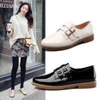 【17新品】阿么时尚漆皮单鞋韩版舒适圆头低跟女鞋皮带扣方跟鞋子潮