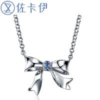 佐卡伊蝴蝶造型925银镶红/蓝宝石链牌