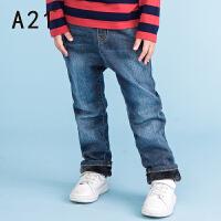 以纯A21童装直筒牛仔裤2016秋新款 加绒保暖男童加厚中腰牛仔长裤