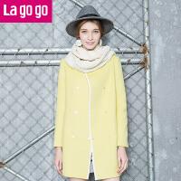 Lagogo/拉谷谷冬新款双排扣中长款毛呢大衣女外套 EDH973B709