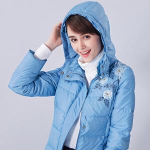 艾蓓怡女装新款潮保暖面包服连帽印花羽绒服女中长款大衣YRD6003