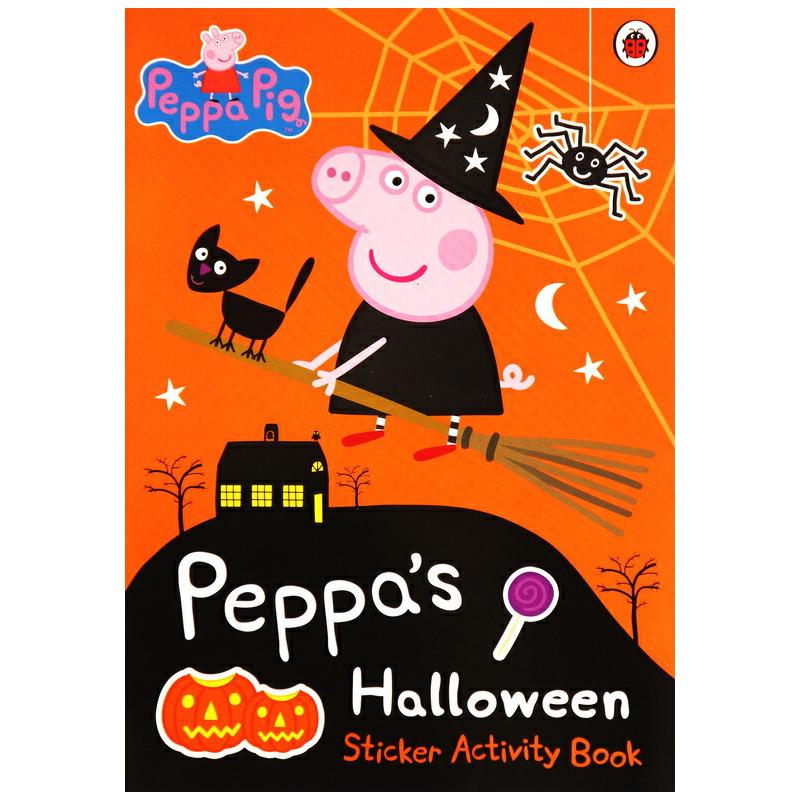 小猪佩奇趣味贴纸游戏书 英文原版 peppa pig halloween 粉红猪小妹