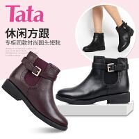 Tata/他她专柜同款小牛皮女短靴2I255CD5