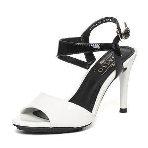 BASTO/百思图夏季专柜同款牛皮简约优雅细高跟女凉鞋TY704BL6