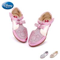 迪士尼童鞋女童闪钻皮鞋2017春季新款中童学生鞋儿童单鞋公主鞋潮DS1957