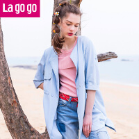 Lagogo拉谷谷2017夏季新款时尚口袋浅蓝色牛仔风衣GAFF233A45