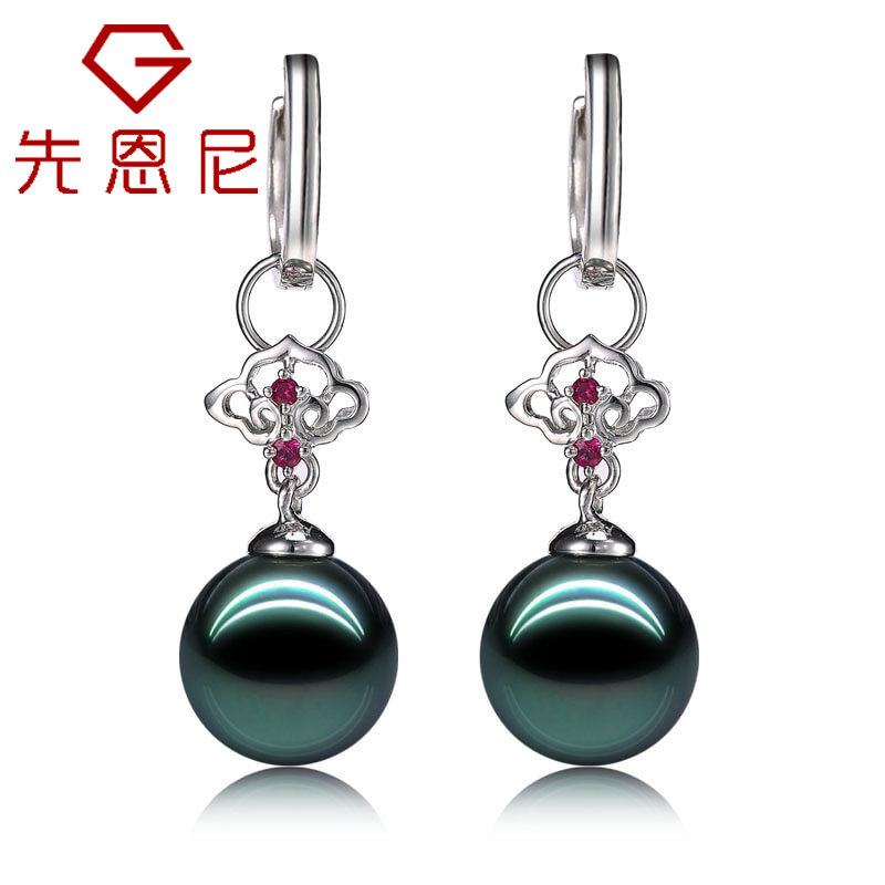 先恩尼黑珍珠 白18K金 扣头镶红宝石 黑珍珠耳环 两用款LSZZ168两用款一对耳环等于两个吊坠 珍珠吊坠