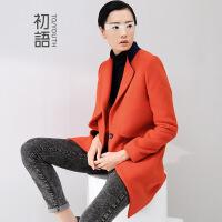 初语冬季新款 毛呢外套女中长款气质优雅修身显瘦毛呢大衣外套女8441214033