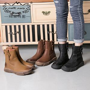 玛菲玛图秋冬新款复古女靴中跟厚底短靴欧美街头靴子休闲马丁靴女大码短靴009-21S