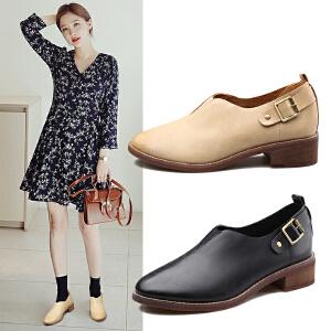 阿么2017春季新款粗跟单鞋女学院风低跟休闲鞋女鞋子韩版小皮鞋潮