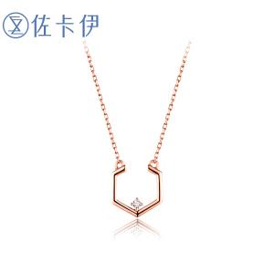 佐卡伊玫瑰18K金钻石吊坠时尚轻奢项坠链牌送女友礼物珠宝