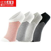 红豆袜子【4双装】男士短袜 纯色棉质面料运动时尚条纹船袜 春夏薄款