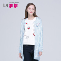lagogo拉谷谷中长款针织衫女开衫新款毛衣外套韩版时尚宽松外搭