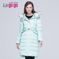 Lagogo冬韩版显瘦加厚中长款羽绒服EDF453G638