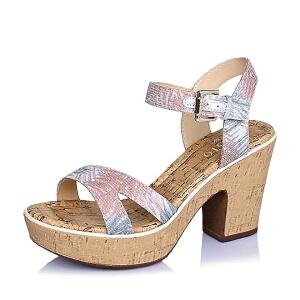 BASTO/百思图夏季专柜同款印花布粗跟女凉鞋TGH01BL6