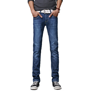 1号牛仔 春夏款男士牛仔裤男修身直筒韩版潮中腰牛仔长裤