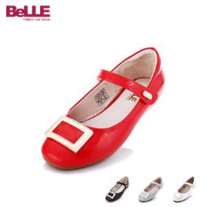 百丽童鞋儿童皮鞋2017年夏新款女童公主鞋女童单鞋百搭时尚亲子鞋 DE0331