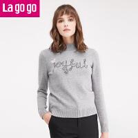 lagogo拉谷谷冬季新款女装毛衣长袖套头半高领秋冬打底针织衫上衣