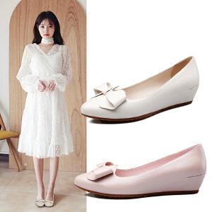 阿么韩版甜美蝴蝶结套脚女鞋时尚尖头中跟坡跟单鞋子