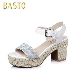 BASTO/百思图夏季格利特/牛皮女凉鞋15070BL6