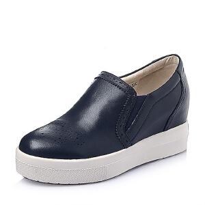 Bata/拔佳春季女士牛皮革女休闲鞋AJ926AM6女乐福鞋