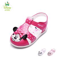 迪士尼童鞋17年夏季新款凉鞋女童包头卡通米奇凉鞋小童卡通儿童鞋宝宝鞋 DS1990