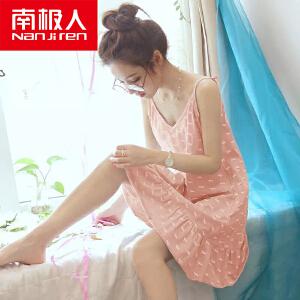 南极人韩版夏季吊带睡衣女纯棉加大码卡通可爱宽松睡裙家居服夏天