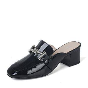 BASTO/百思图2017新款夏季专柜同款漆牛皮粗跟穆勒女凉拖鞋TPQ01BT7