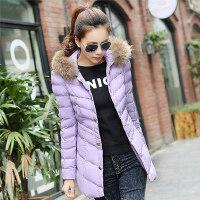 冬装修身韩版女式中长款棉服 加厚连帽显瘦棉袄